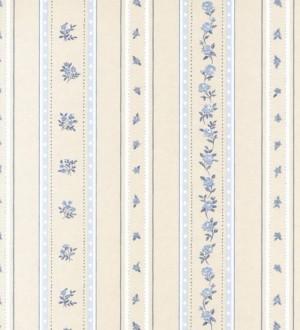 Papel pintado rayas con flores Liberty y enredadera de flores Raya Camelia 118342