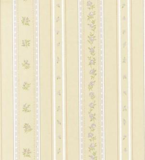 Papel pintado rayas con flores Liberty y enredadera floral Raya Camelia 118359