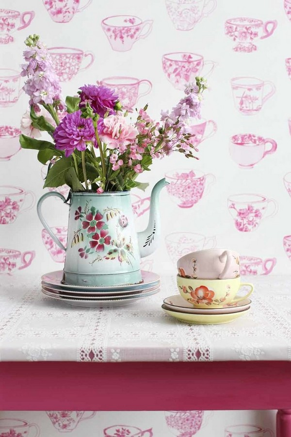 Papel pintado tazas con pájaros y flores románticas Luton 118377