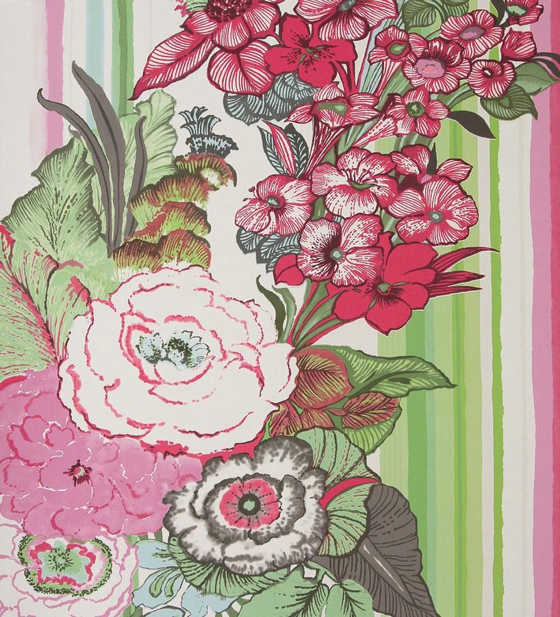 Papel pintado ramo de flores con fondo a rayas de acuarela Anubia 118381