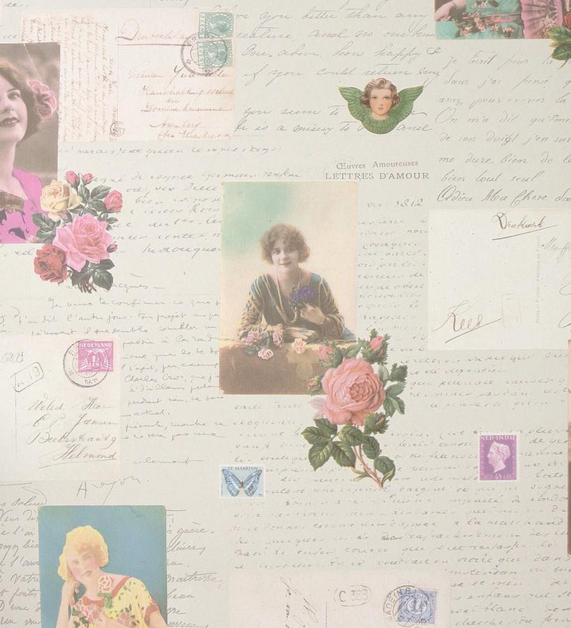 Papel pintado cartas románticas y fotos vintage Carol 118386