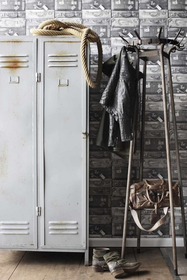 Papel pintado maletas de viaje Shabby Chic vintage Jacquelin 118401