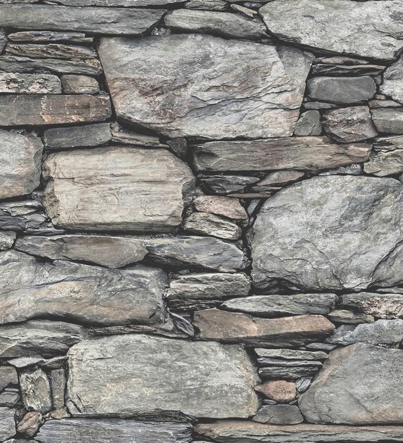 Papel pintado piedra estilo rústico fotográfico hiperrealista Basalto 119489