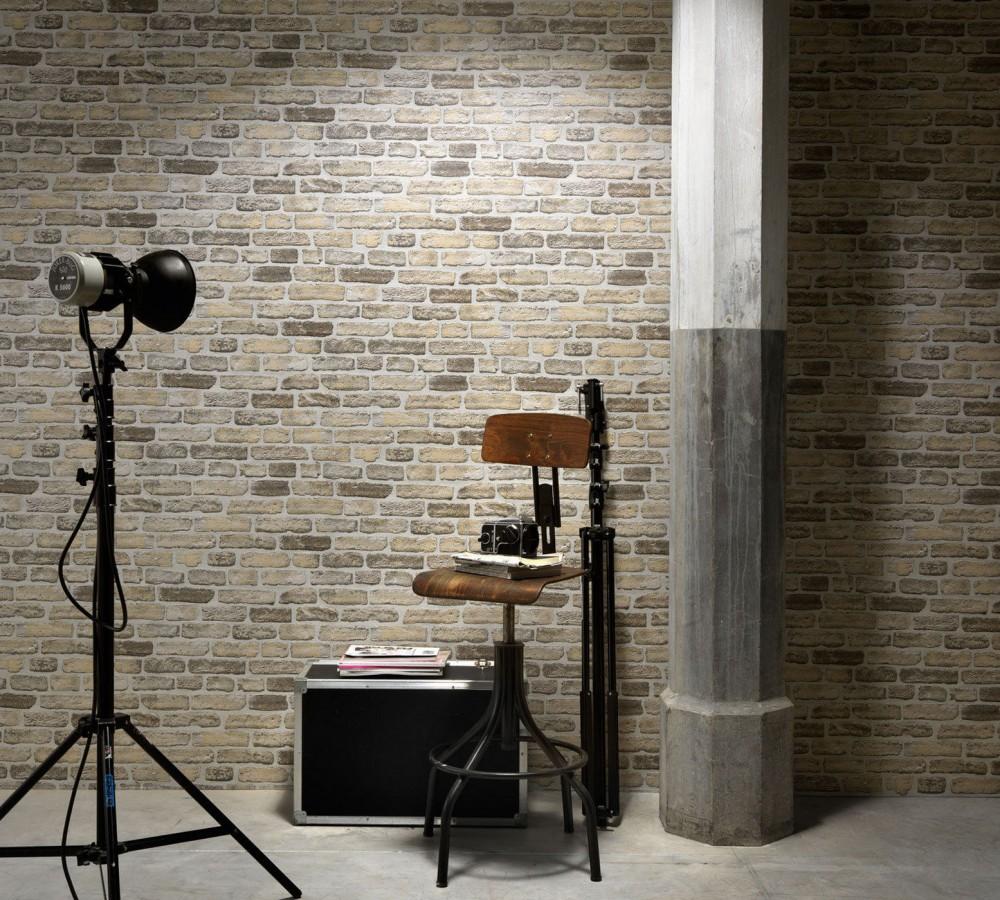 Papel pintado muro de ladrillo desgastado rústico gris oscuro Chelsea 119497