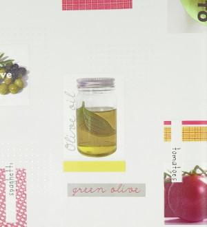 Papel pintado collage de cocina aceite y tomates rojo teja Bolognese 119508