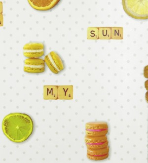 Papel pintado macarons y fichas de scrabble amarillo tropical Poulain 119509