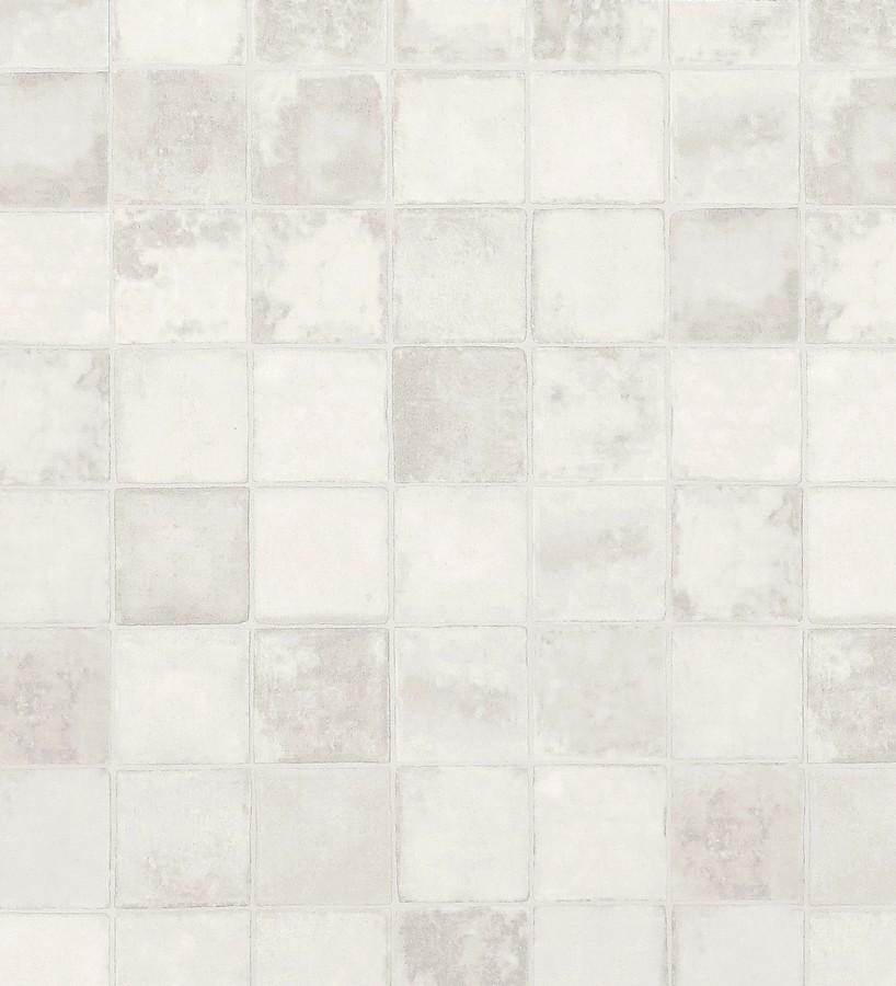 Papel pintado azulejos cuadrados Shabby Chic blanco roto Benaize 119515