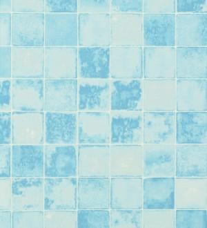 Papel pintado azulejos cuadrados Shabby Chic celeste aguamarina Benaize 119516