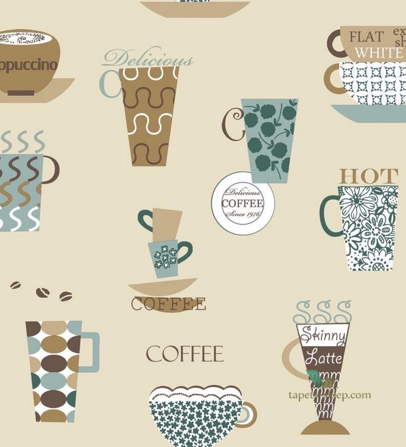 Papel pintado tazas de café y capuchinos fondo avellana Coffee Break 119537