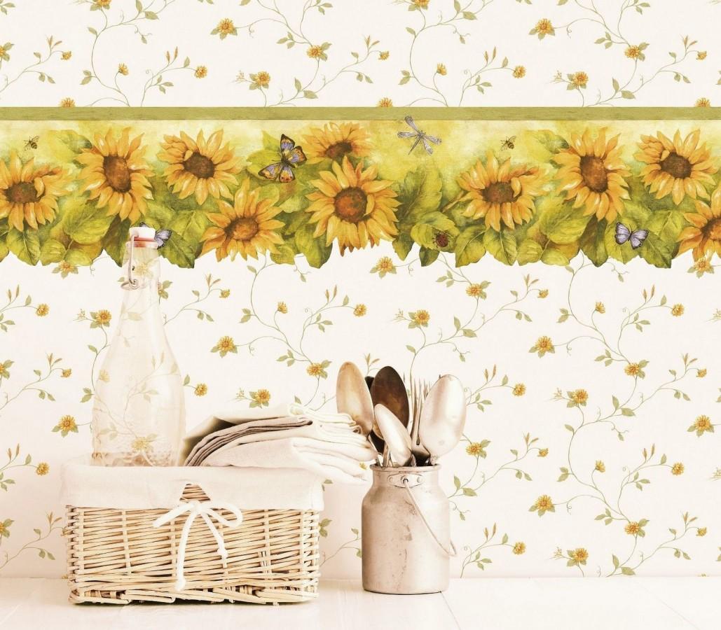 Papel pintado margaritas y espigas de trigo amarillo tropical Fabies 119547