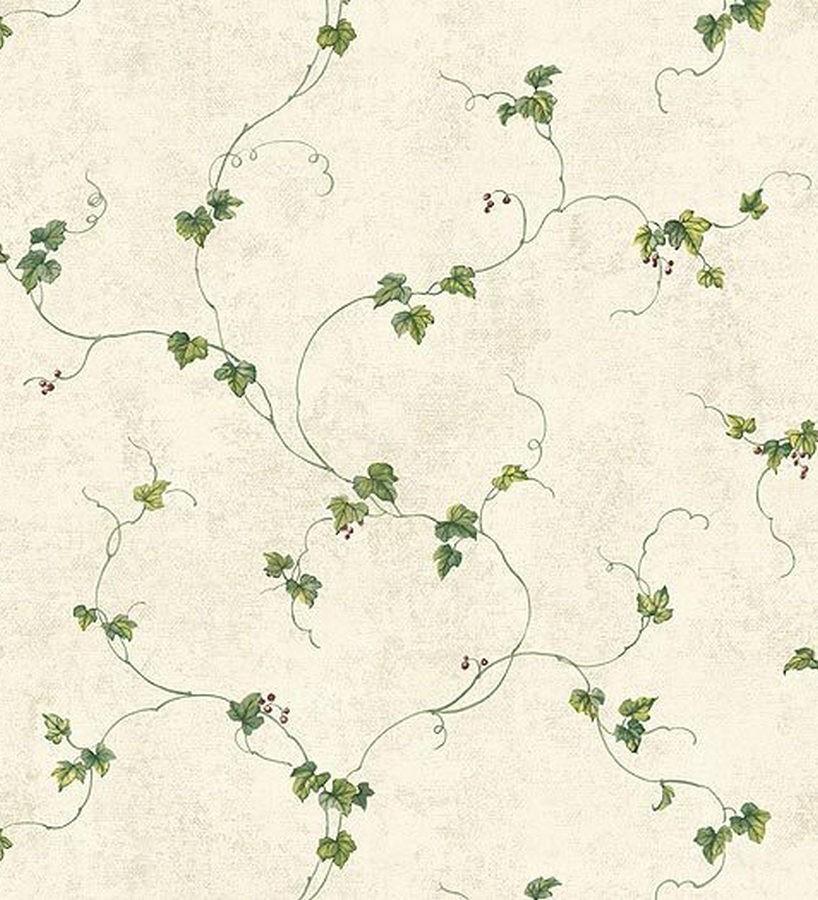 Papel pintado enredadera de hojas verde caqui fondo beige claro Baging 119552