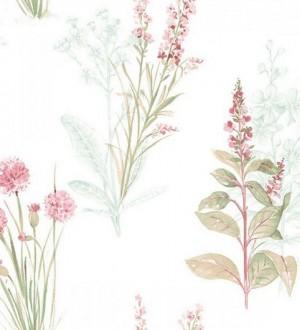 Papel pintado flores y plantas artísticas vintage rosa claro Saliunca 119593