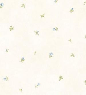 Papel pintado hojas y flores vintage celeste claro pálido Dalisa 119596
