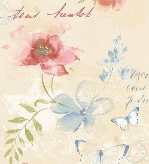 Papel pintado flores y letras vintage fondo beige claro Amyte 119598