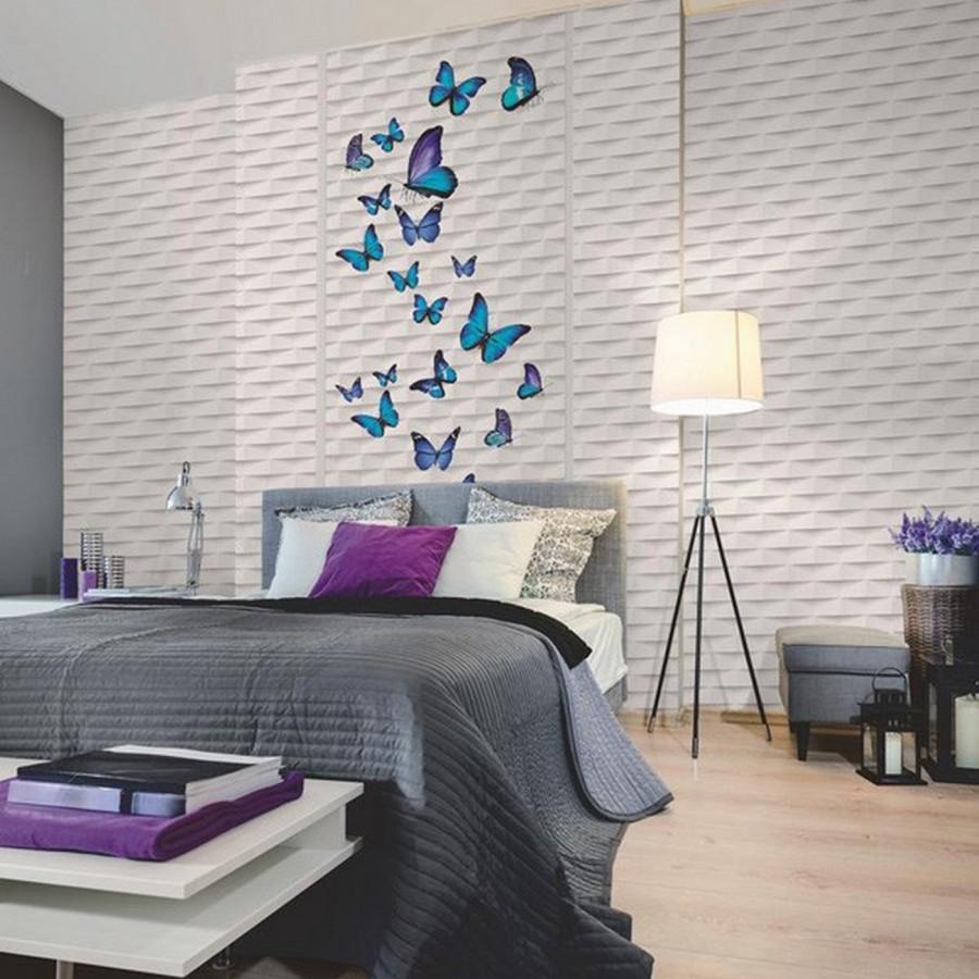 Papel pintado tejas abstractas geométricas fondo blanco Allport 119702