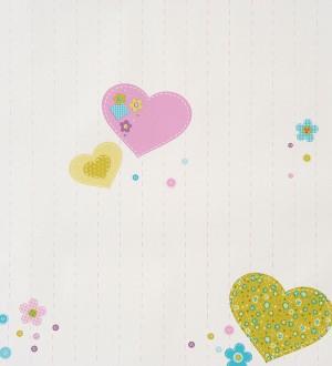 Papel pintado corazones patchwork y flores infantiles malva Flowering 340949