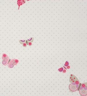 Papel pintado mariposas estampadas de flores rosa intenso Cute Butterfly 340950