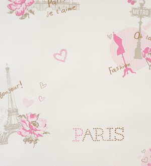 Papel pintado motivos de París vintage juvenil rosa claro Haute París 340957