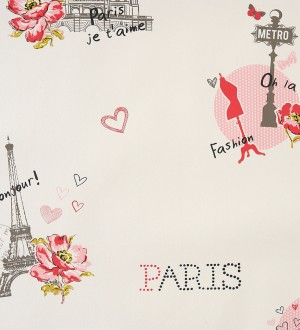 Papel pintado motivos de París vintage juvenil rojo intenso Haute París 340958