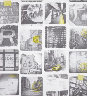 Papel pintado collage de fotos viajes por USA blanco y negro Twista 341571