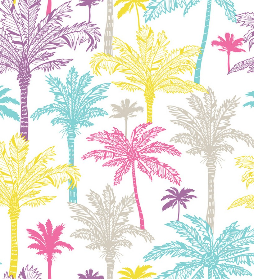 Papel pintado palmeras de california tropical juvenil for Papel decorativo para paredes baratos