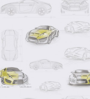 Papel pintado bocetos de coches tuning verde lima Sketches 341779