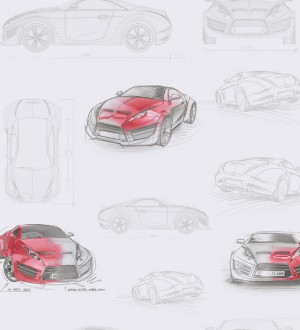 Papel pintado bocetos de coches tuning rojo teja Sketches 341780