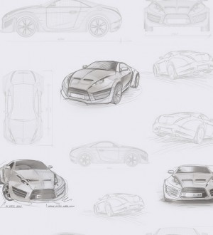Papel pintado bocetos de coches tuning gris Sketches 341781