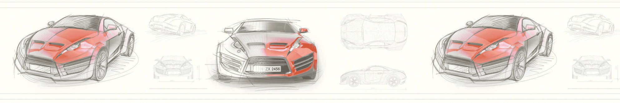 Cenefa bocetos de coches tuning rojo teja Sketches 341808