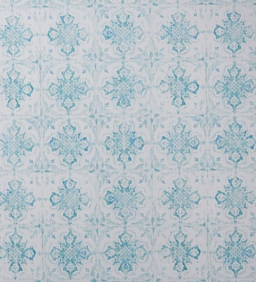 Papel pintado azulejos árabes Shabby Chic verde jade Faray 342024