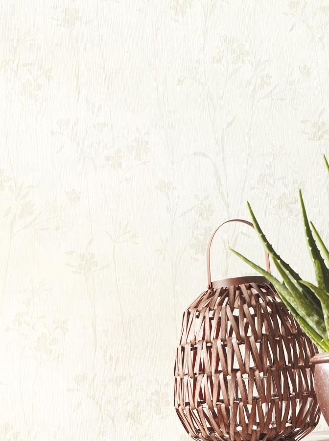 Papel pintado hojas delgadas y flores pequeñas gris claro Juncus 342059