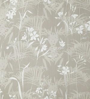 Papel pintado hojas delgadas y flores pequeñas visón Juncus 342060