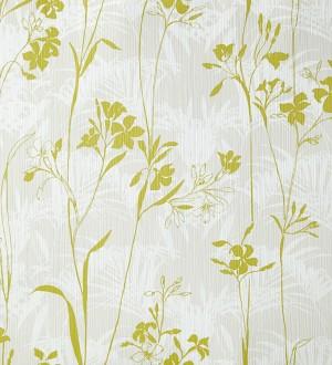 Papel pintado hojas delgadas y flores pequeñas verde melón Juncus 342061