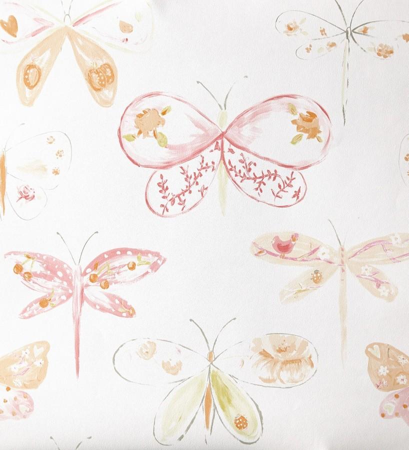 Papel pintado libélulas y mariposas dibujadas naranja claro Libelflies 342100