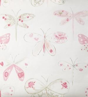 Papel pintado libélulas y mariposas dibujadas rosa claro Libelflies 342101
