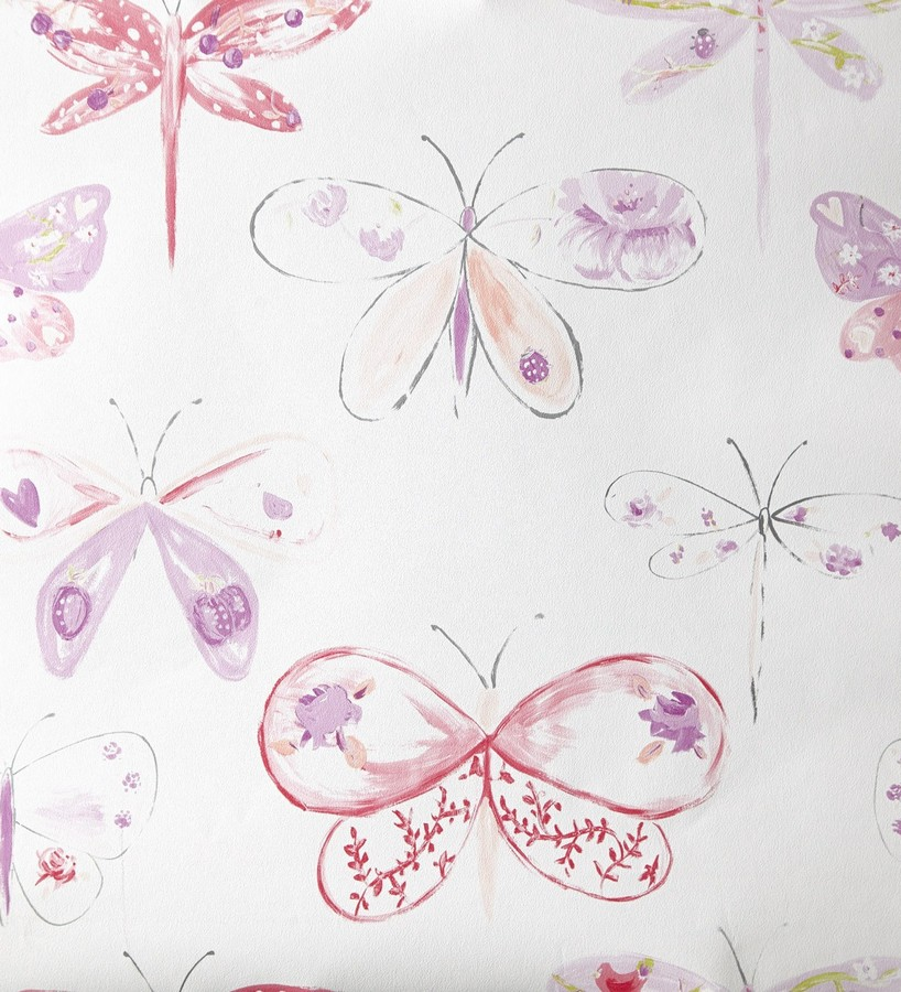 Papel pintado libélulas y mariposas dibujadas rosa intenso Libelflies 342102