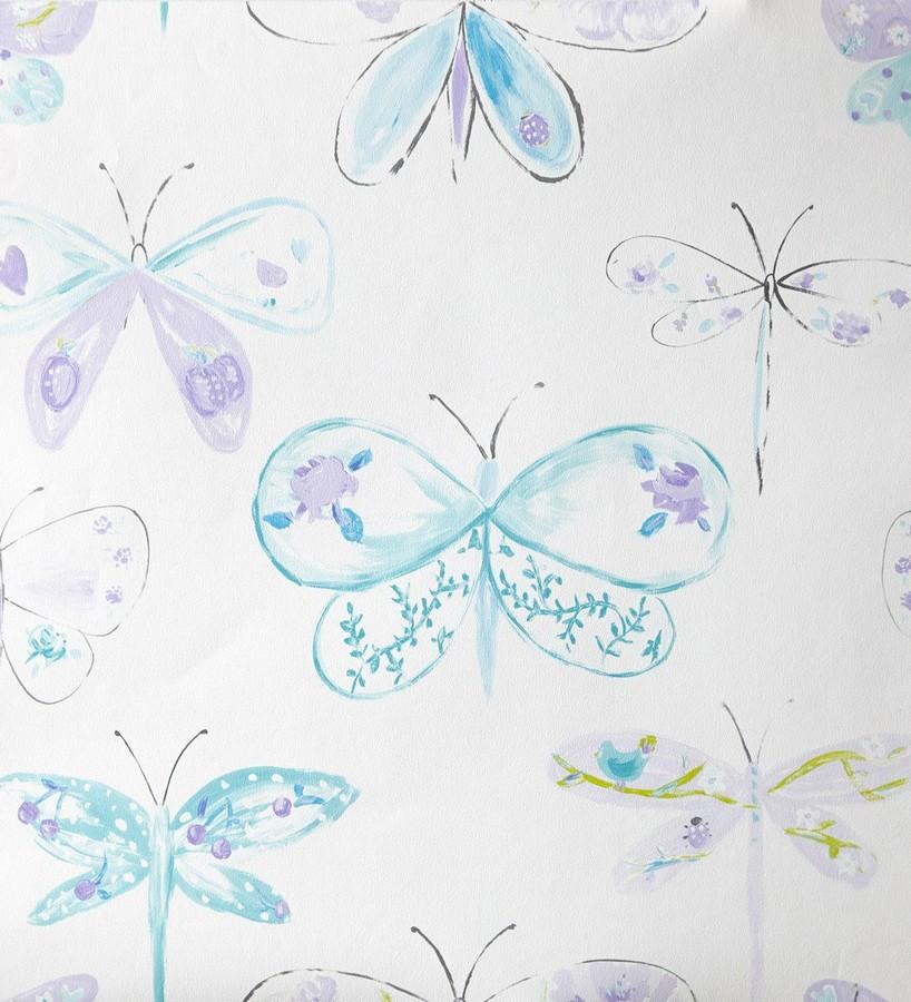 Papel pintado libélulas y mariposas dibujadas lila Libelflies 342103