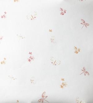 Papel pintado mariposas y libélulas con flores naranja claro Small Libelflies 342104