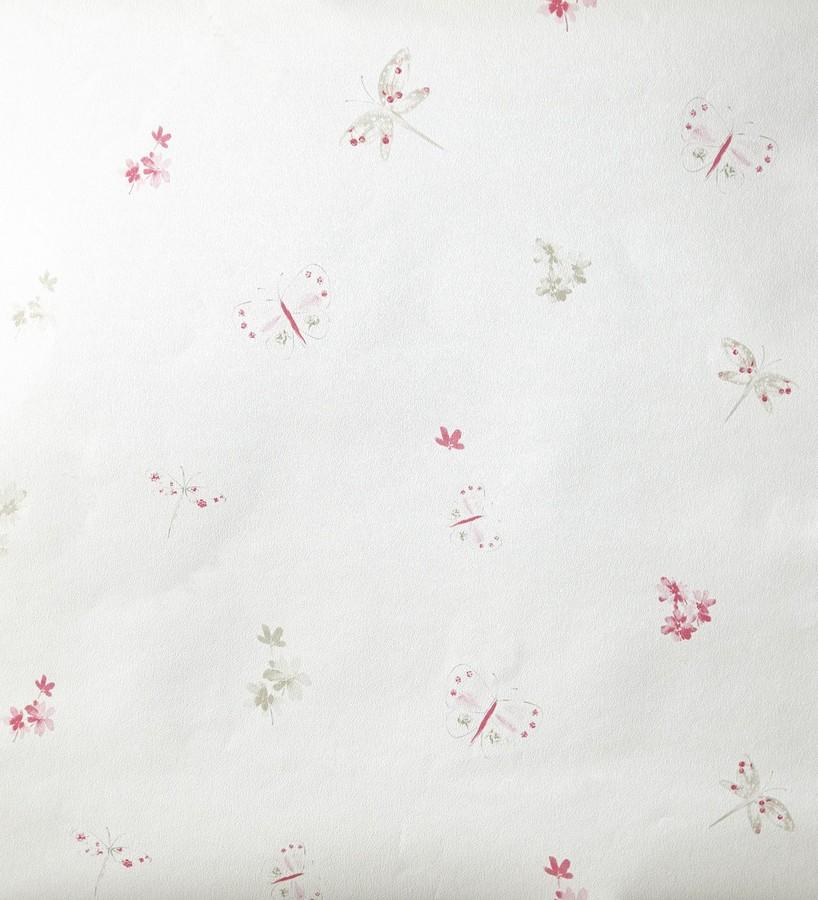 Papel pintado mariposas y libélulas con flores rosa claro Small Libelflies 342105