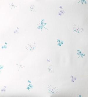 Papel pintado mariposas y libélulas con flores lila Small Libelflies 342107