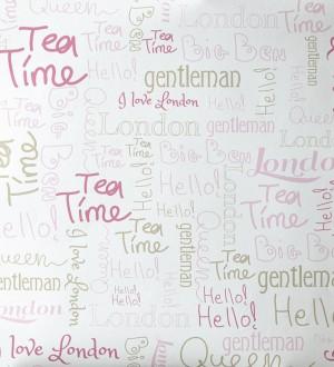 Papel pintado letras con símbolos de Londres tonos rosa London Letters 342112