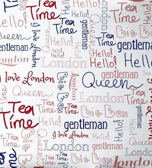 Papel pintado letras con símbolos de Londres azul y rojo London Letters 342113