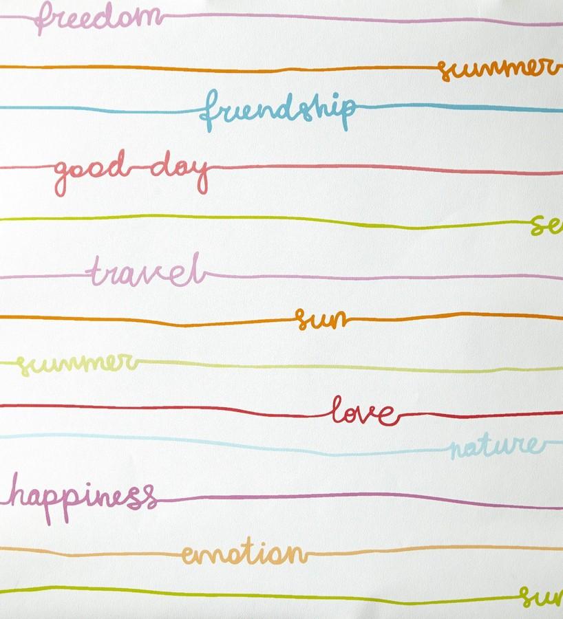 Papel pintado palabras escritas a mano con rayas horizontales Raya Girol 342115