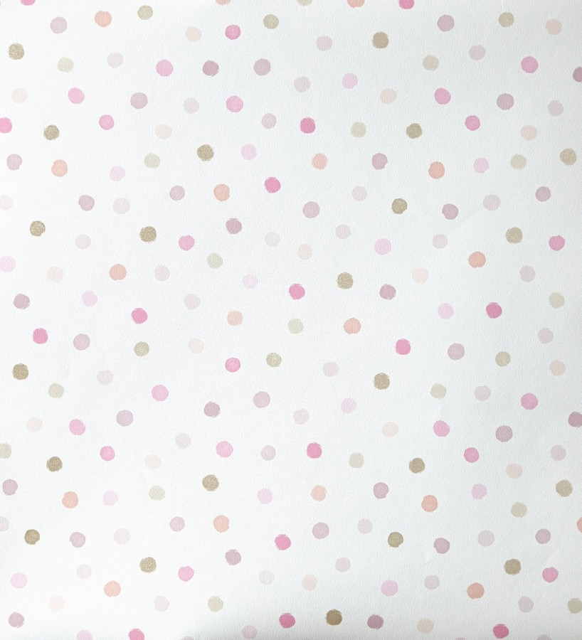 Papel pintado lunares infantiles tonos rosa girol 342117 for Papel decomural infantil