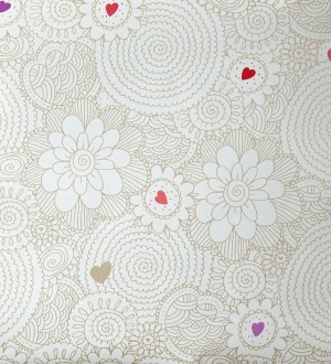 Papel pintado flores de mandalas y corazones perla metalizado Jolie Flowers 342120