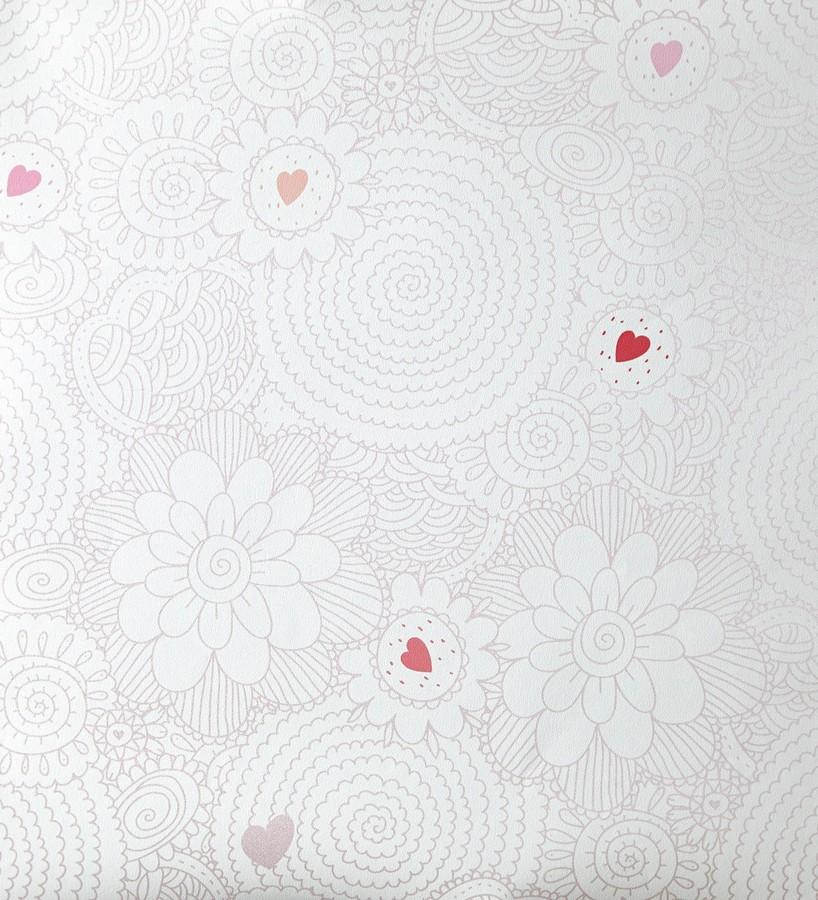 Papel pintado flores de mandalas y corazones rosa claro Jolie Flowers 342121