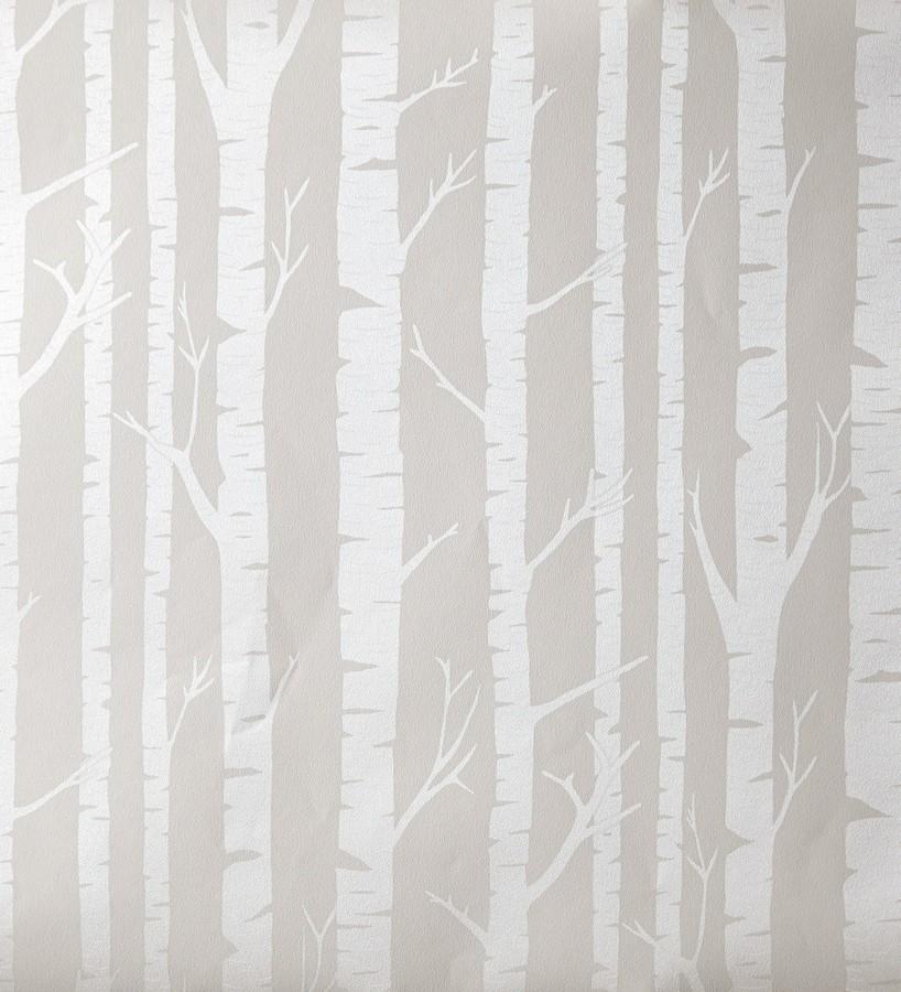 Papel pintado troncos de árboles estilo nórdico plata metalizado Tree Forest 342123