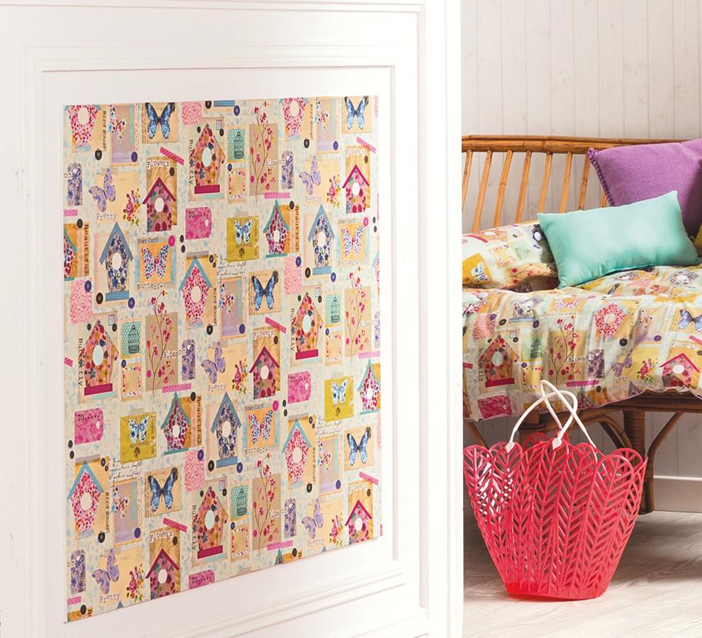 Papel pintado patchwork con casas de pájaros y mariposas Romantic Birdcages 342128