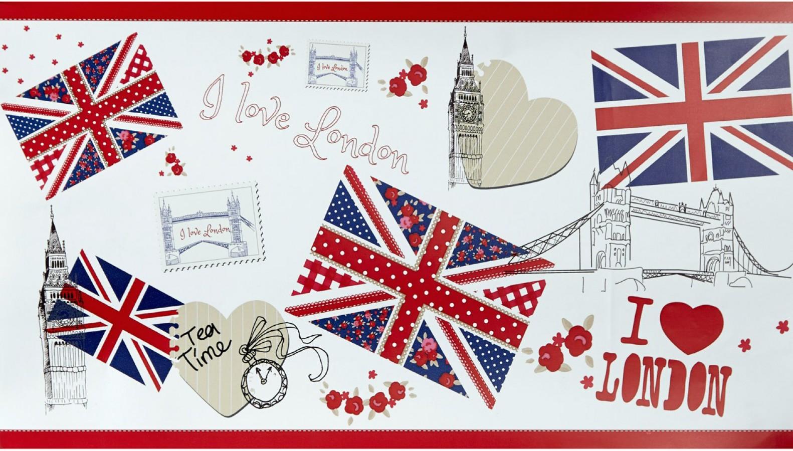 Cenefa collage con iconos de Londres London Letters 342137