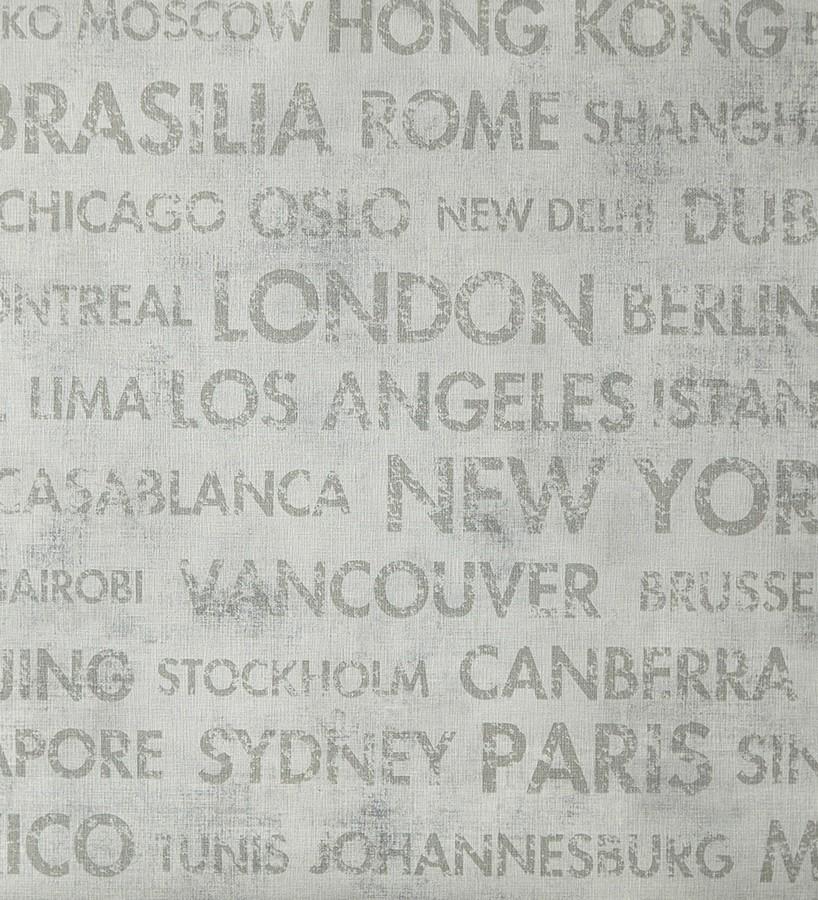 Papel pintado palabras ciudades del mundo fondo gris claro Lucida 342177